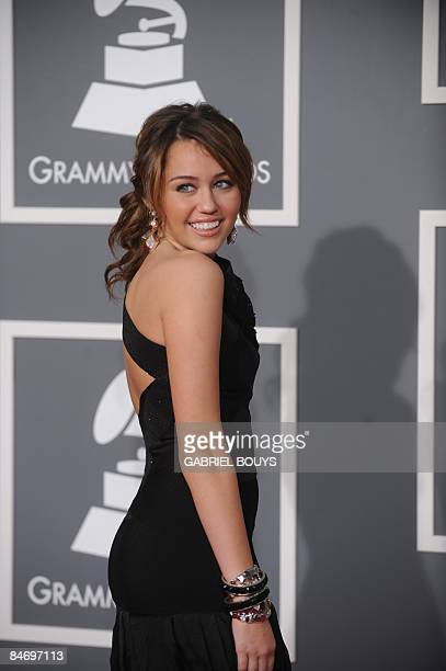 Singer Miley Cyrus arrives at the 51st Annual Grammy Awards at the Staples Center in Los Angeles on February 8 2009 AFP PHOTO/GABRIEL BOUYS