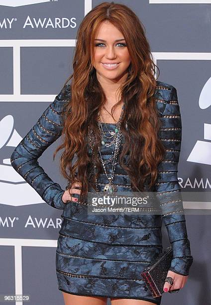 Singer Miley Cyrus arrives at the 52nd Annual GRAMMY Awards held at Staples Center on January 31 2010 in Los Angeles California