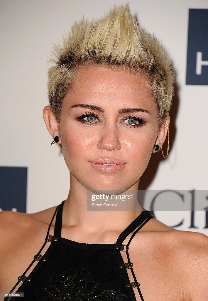 Singer Miley Cyrus arrives at the 55th Annual GRAMMY Awards Pre-GRAMMY Gala and Salute to Industry Icons honoring L.A. Reid held at The Beverly Hilton on February 9, 2013 in Los Angeles, California.