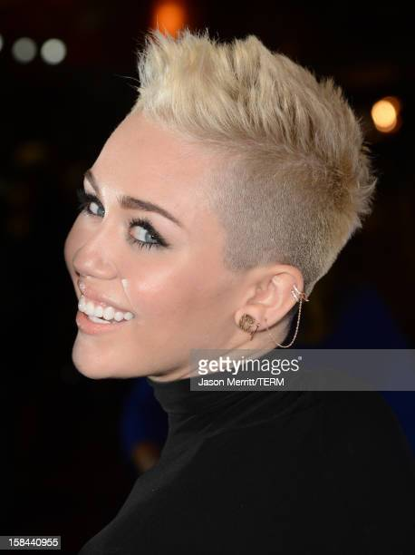 Singer Miley Cyrus arrives at 'VH1 Divas' 2012 held at The Shrine Auditorium on December 16 2012 in Los Angeles California
