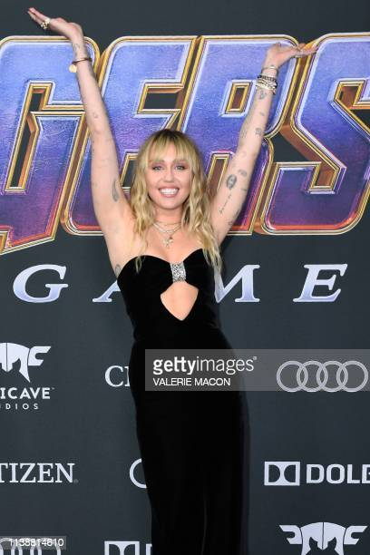 US singer Miley Cyrus arrives for the World premiere of Marvel Studios' Avengers Endgame at the Los Angeles Convention Center on April 22 2019 in Los...