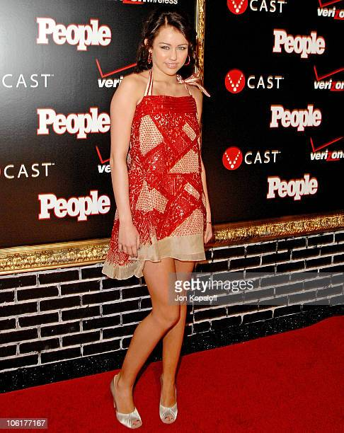 Singer Miley Cyrus arrives to the Verizon Wireless People Magazine's PreGrammy Party at Avalon Hollywood on February 8 2008 in Hollywood California