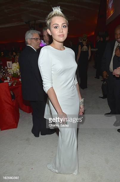 Singer Miley Cyrus attends Neuro at 21st Annual Elton John AIDS Foundation Academy Awards Viewing Party at West Hollywood Park on February 24 2013 in...