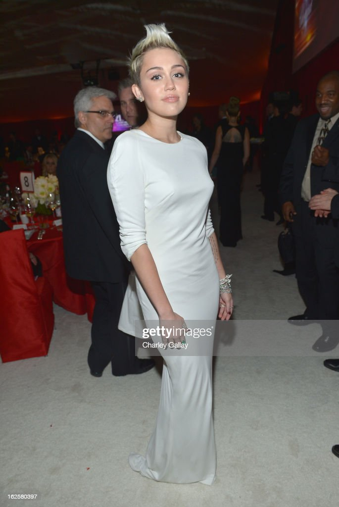 Singer Miley Cyrus attends Neuro at 21st Annual Elton John AIDS Foundation Academy Awards Viewing Party at West Hollywood Park on February 24, 2013 in West Hollywood, California.