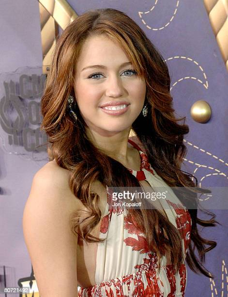 Singer Miley Cyrus attends the 2008 CMT Music Awards at the Curb Events Center at Belmont University on April 14 2008 in Nashville Tennessee