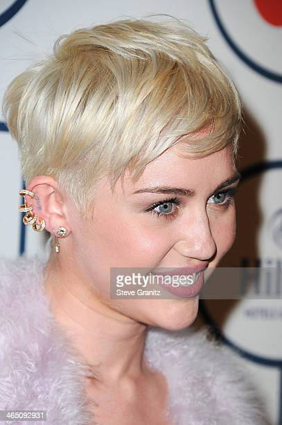Singer Miley Cyrus attends the 56th annual GRAMMY Awards PreGRAMMY Gala and Salute to Industry Icons honoring Lucian Grainge at The Beverly Hilton on...