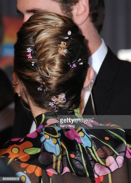 Singer Miley Cyrus hair detail attends the world premiere of Disney and Marvel's 'Thor Ragnarok' at El Capitan Theatre on October 10 2017 in Los...