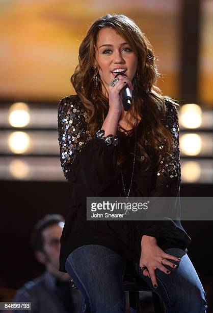 Singer Miley Cyrus performing onstage at the 51st Annual GRAMMY Awards held at the Staples Center on February 8 2009 in Los Angeles California