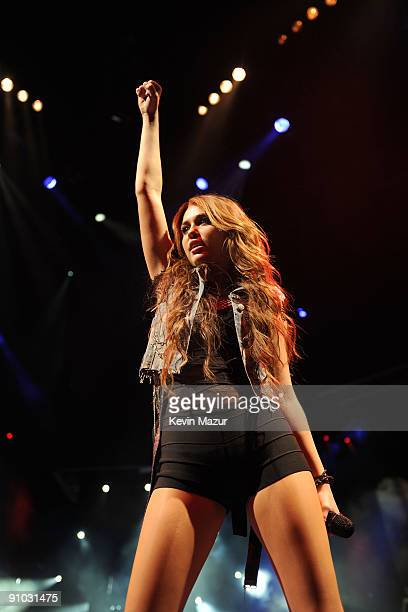 Singer Miley Cyrus performs during her 'Wonder World' tour at Staples Center on September 22 2009 in Los Angeles California