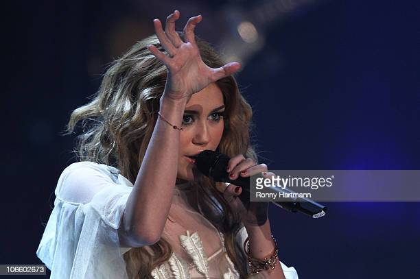 Singer Miley Cyrus performs during the 191st 'Wetten dass ' show at TUI Arena on November 06 2010 in Hanover Germany