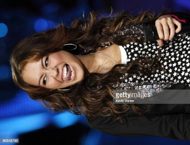 Singer Miley Cyrus performs during the taping of Idol Gives Back held at the Kodak Theatre on April 6 2008 in Los Angeles California Idol Gives Back...