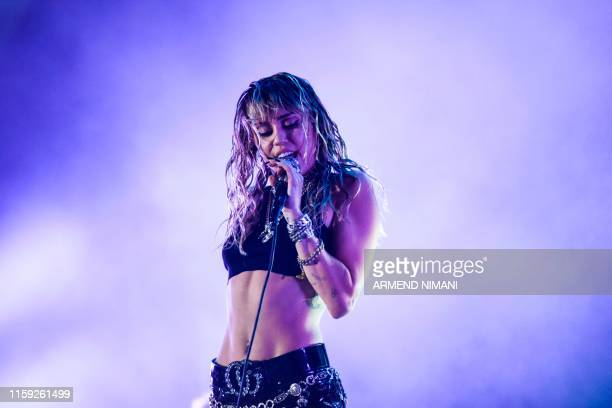 TOPSHOT US singer Miley Cyrus performs on stage during a concert at the Sunny Hill Festival in Pristina on August 2 2019