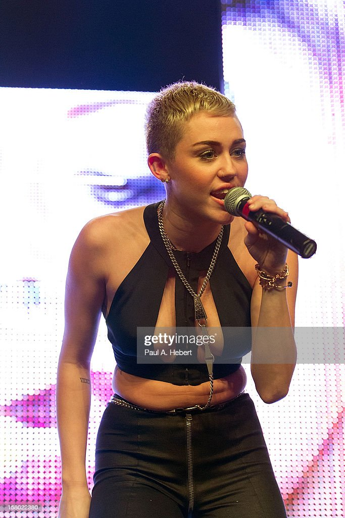 Singer Miley Cyrus performs on stage during Borgore's 'Christmas Creampies' concert at the Fonda Theatre on December 8, 2012 in Hollywood, California.