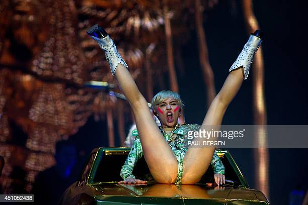 US singer Miley Cyrus performs on stage during her concert at the Ziggo Dome in Amsterdam on June 22 as part of her Bangerz Tour / AFP PHOTO / ANP /...