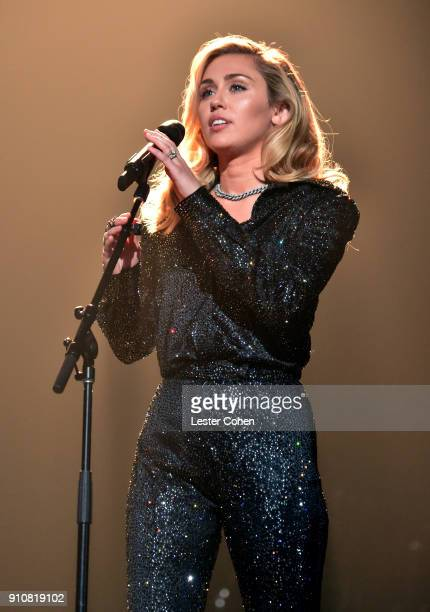 Singer Miley Cyrus performs onstage at MusiCares Person of the Year honoring Fleetwood Mac at Radio City Music Hall on January 26 2018 in New York...