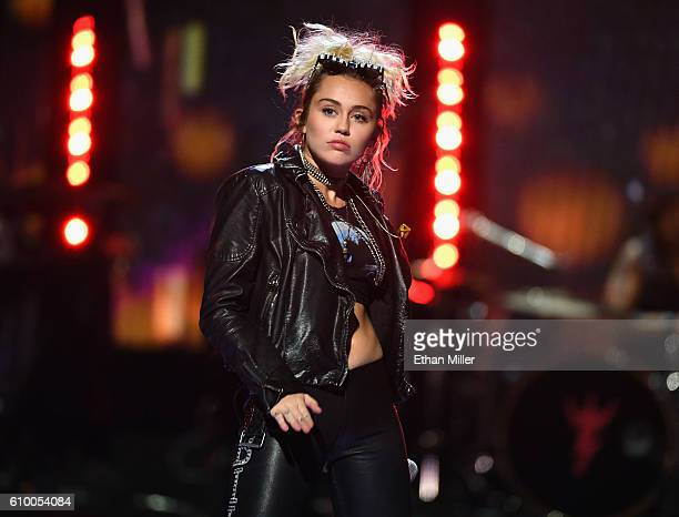 Singer Miley Cyrus performs onstage at the 2016 iHeartRadio Music Festival at TMobile Arena on September 23 2016 in Las Vegas Nevada