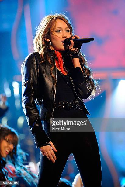Singer Miley Cyrus performs onstage during Nickelodeons 2008 Kids Choice Awards held at the Pauley Pavilion on March 29 2008 in Westwood California