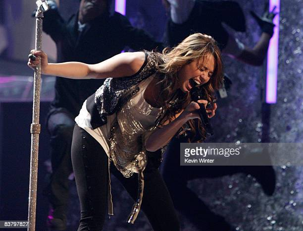 Singer Miley Cyrus performs onstage during the 2008 American Music Awards held at Nokia Theatre LA LIVE on November 23 2008 in Los Angeles California