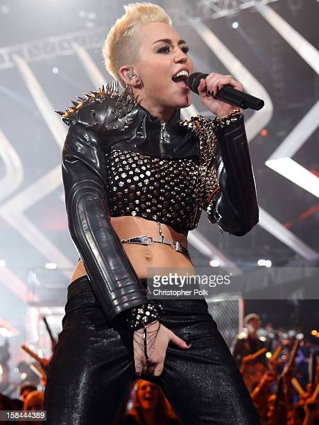 Singer Miley Cyrus performs onstage during 'VH1 Divas' 2012 at The Shrine Auditorium on December 16 2012 in Los Angeles California