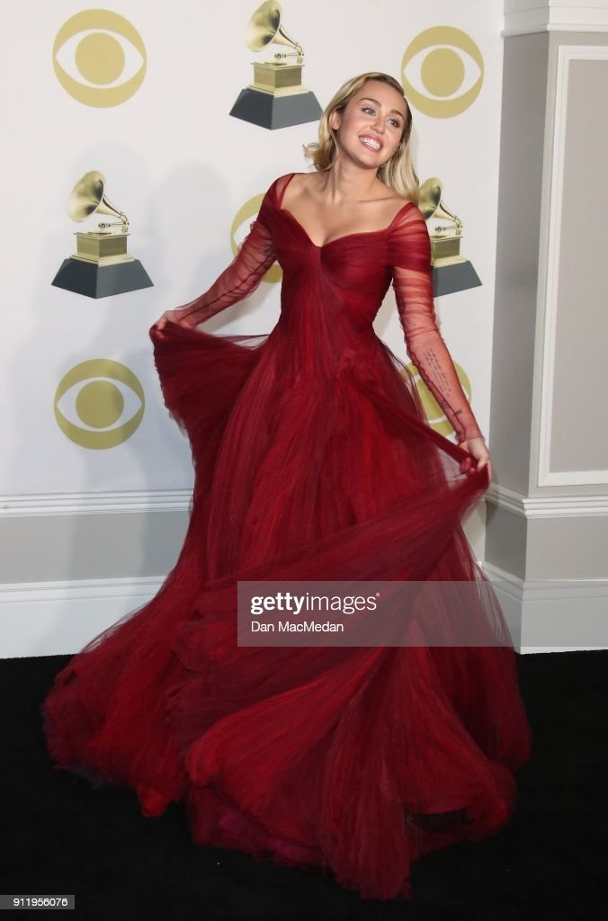 Singer Miley Cyrus poses in the press room at the 60th Annual GRAMMY Awards at Madison Square Garden on January 28, 2018 in New York City.