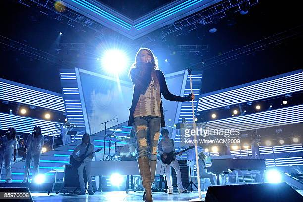 Singer Miley Cyrus rehearses onstage for the 44th Annual Academy Of Country Music Awards held the MGM Grand Garden Arena at on April 4 2009 in Las...