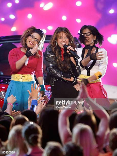 Singer Miley Ray Cyrus performs during Nickelodeon's 2008 Kids' Choice Awards held at UCLA's Pauley Pavilion on March 29 2008 in Westwood California