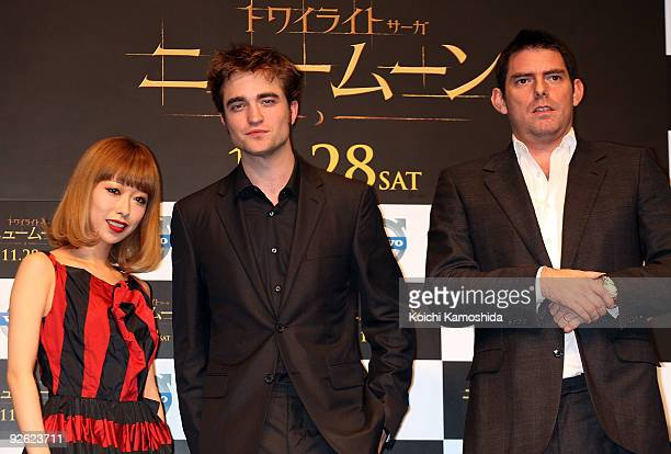 Singer Miliyah Kato Actor Robert Pattinson and Director Chris Weitz attend the The Twilight Saga New Moon press conference at Shinagawa Intercity...