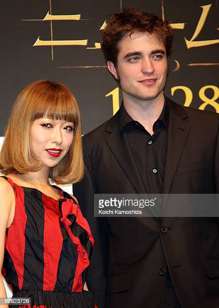 Singer Miliyah Kato and Actor Robert Pattinson attend the The Twilight Saga New Moon press conference at Shinagawa Intercity Hall on November 3 2009...
