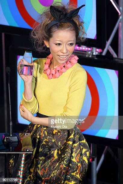 Singer Miliyah Kato reacts as she receives the Best 'Student Voice' Artist award during the MTV Student Voice Awards 2009 at ShibuyaAX on August 27...
