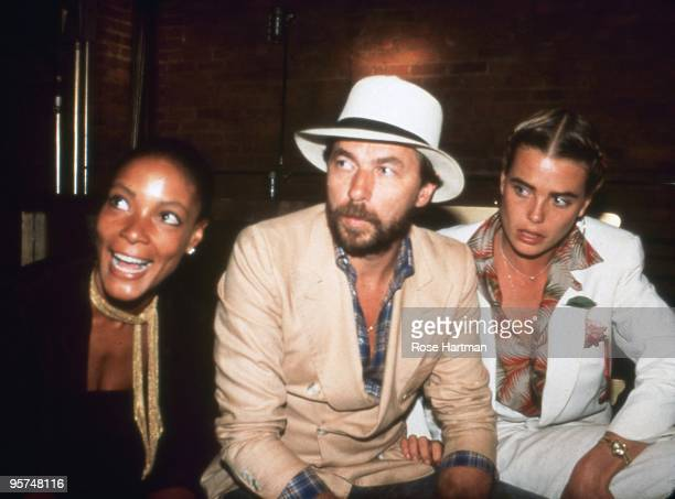 Singer Millie Kaiserman Bernard Foucher and his wife actress Margaux Hemingway at Studio 54 in 1977 in New York City New York