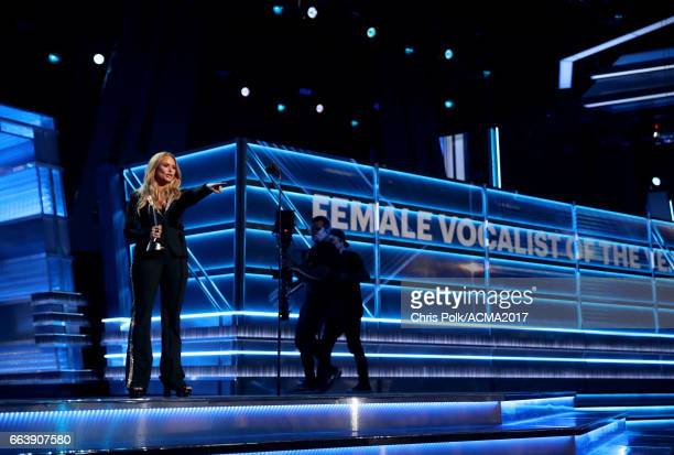 Singer Miranda Lambert accepts the award for Female Vocalist of the Year onstage during the 52nd Academy of Country Music Awards at T-Mobile Arena on...