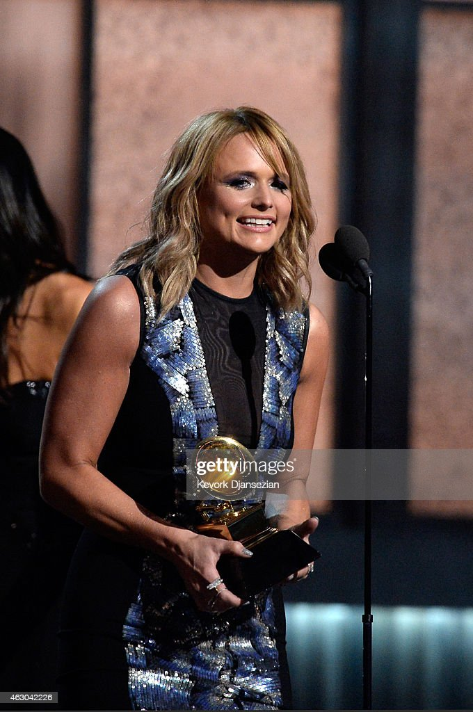 Singer Miranda Lambert accepts the Best Country Album for 'Platinum' onstage during The 57th Annual GRAMMY Awards at the at the STAPLES Center on February 8, 2015 in Los Angeles, California.