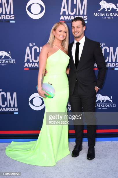 US singer Miranda Lambert and Brendan McLoughlin arrive for the 54th Academy of Country Music Awards on April 7 at the MGM Grand Garden Arena in Las...
