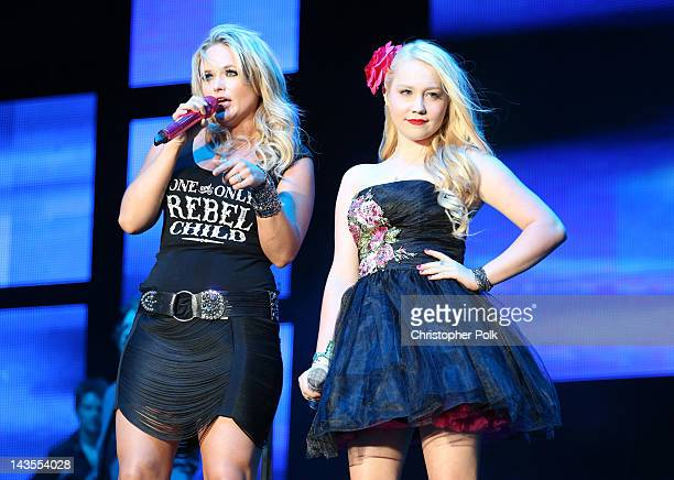 Singer Miranda Lambert and former 'The Voice' contestant RaeLynn perform onstage during the Stagecoach Country Music Festival held at the Empire Polo...