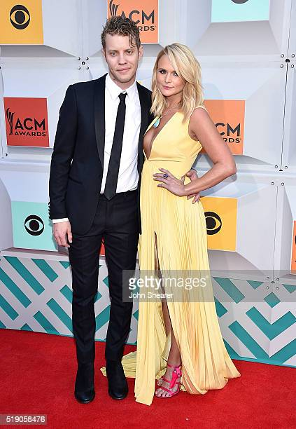 Singer Miranda Lambert right and Anderson East attend the 51st Academy of Country Music Awards at MGM Grand Garden Arena on April 3 2016 in Las Vegas...