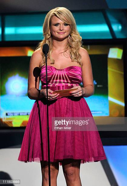 Singer Miranda Lambert speaks onstage at the 46th Annual Academy of Country Music Awards held at the MGM Grand Garden Arena on April 3 2011 in Las...