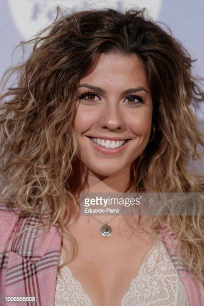 Singer Miriam Rodriguez attends the Pablo Lopez concert photocall at Royal Theatre on July 28 2018 in Madrid Spain