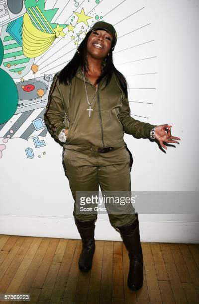 Singer Missy Elliot poses for a photo backstage during MTV's Total Request Live at the MTV Times Square Studios on April 19, 2006 in New York City.