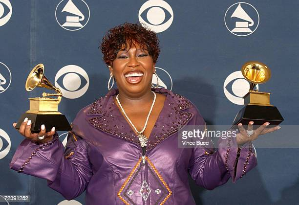 Singer Missy Elliot poses with her awards during the 44th Annual Grammy Awards at Staples Center February 27 2002 in Los Angeles CA Elliot won Best...