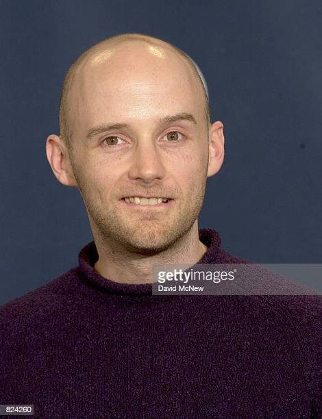 Singer Moby poses backstage at the 43rd annual Grammy Awards February 21 2001 at Staples Center in Los Angeles CA