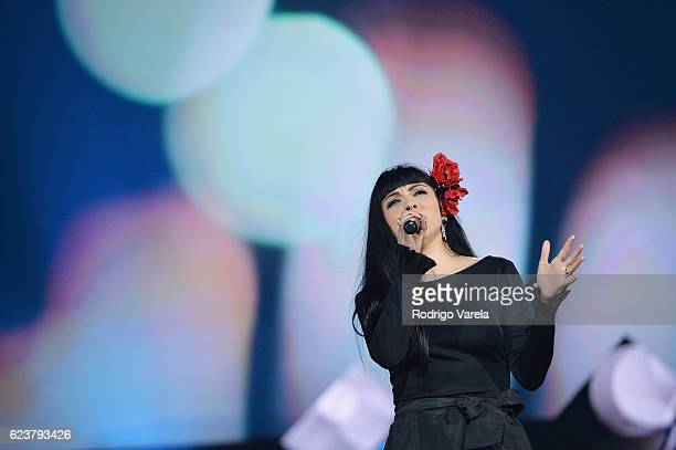 Singer Mon Laferte performs onstage during the 2016 Person of the Year honoring Marc Anthony at MGM Grand Garden Arena on November 16 2016 in Las...