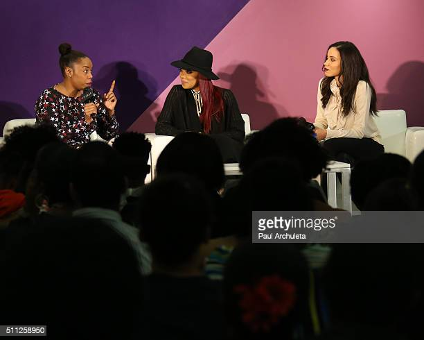 Singer Monica and Actress Jurnee SmollettBell attend Macy's 2016 Black History Month Celebration at Macy's Baldwin Hills on February 18 2016 in Los...