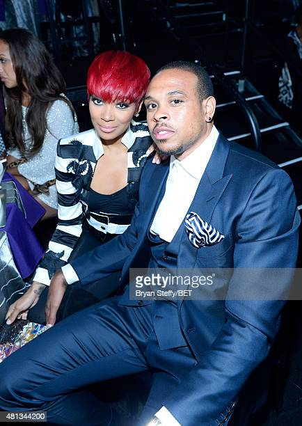 Singer Monica and NBA player Shannon Brown at The Players' Awards presented by BET at the Rio Hotel Casino on July 19 2015 in Las Vegas Nevada
