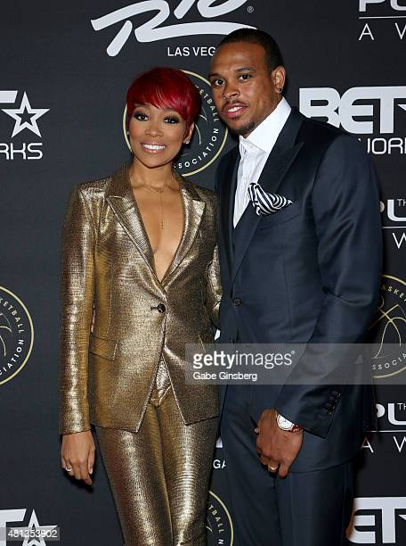 Singer Monica and NBA player Shannon Brown attend The Players' Awards presented by BET at the Rio Hotel & Casino on July 19, 2015 in Las Vegas,...