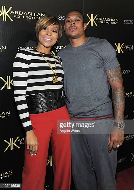 Singer Monica and professional basketball player Shannon Brown arrive at the Kardashian Kollection launch party at The Colony on August 17, 2011 in...