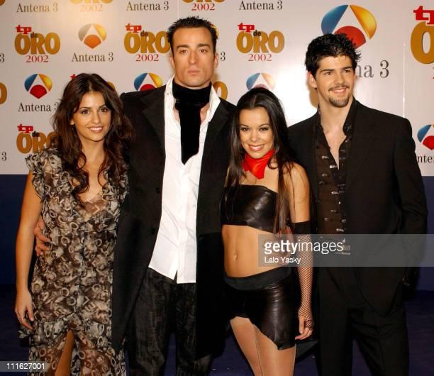 Singer Monica Cruz and 'Upa Dance' members during TV Golden TP Awards at Antena 3 TV Studios in Madrid Spain