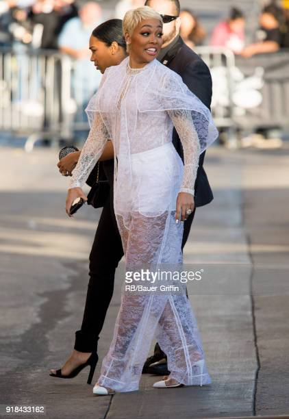 Singer Monica is seen at 'Jimmy Kimmel Live' on February 14 2018 in Los Angeles California
