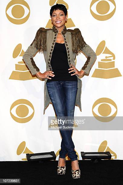 Singer Monica Monposes in press room during GRAMMY Nominations Concert Live!! at Club Nokia on December 1, 2010 in Los Angeles, California.