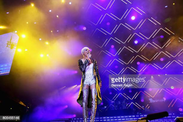 Singer Monica performs onstage at the 2017 ESSENCE Festival Presented By Coca Cola at the MercedesBenz Superdome on July 1 2017 in New Orleans...