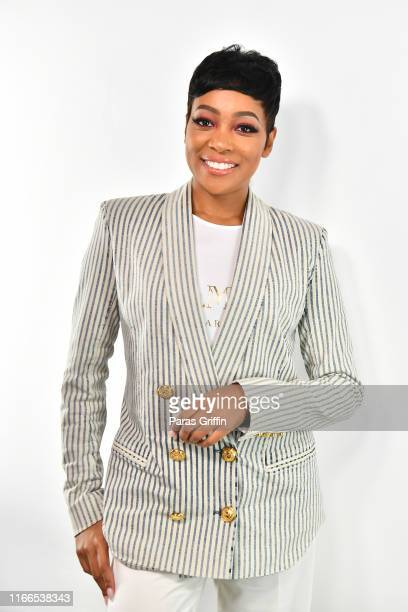 Singer Monica poses backstage during the Black Women OWN the Conversation at Piedmont Park Greystone on August 06 2019 in Atlanta Georgia